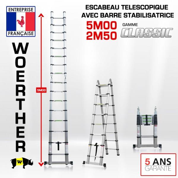 escabeau t lescopique 5m 2m50 en aluminium disponible en gamme grafitek. Black Bedroom Furniture Sets. Home Design Ideas
