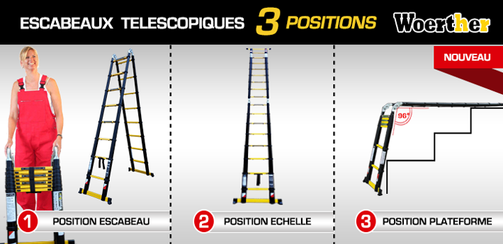 escabeau télescopique woerther 3 positions