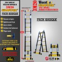ECHELLE ESCABEAU WOERTHER TRIPLE FONCTIONS DOUBLE BARRES STABILISATRICES, GAMME GRAFITEK 3M20/1.6M - PACK BASIQUE
