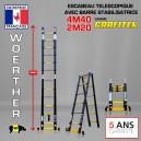 ECHELLE ESCABEAU WOERTHER TRIPLE FONCTIONS, GAMME GRAFITEK 4.40M/2.20M - PACK BASIQUE