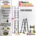 ECHELLE ESCABEAU WOERTHER TRIPLE FONCTIONS, GAMME GRAFITEK 3M20/1.6M - PACK BASIQUE